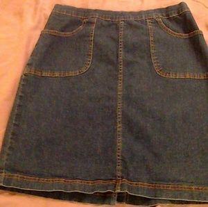 Mid thigh jean skirt